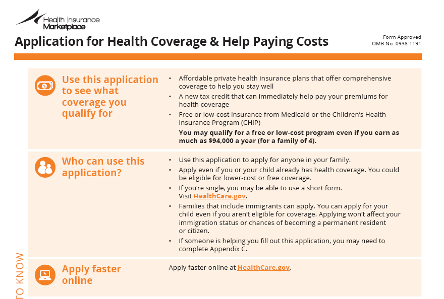 Affordable Care Act Application Form